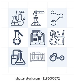 Simple set of 9 icons related to chemistry outline such as chemical reaction, experiment, flask with handle, test tubes, atoms, research symbols