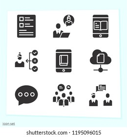Simple set of 9 icons related to mobile filled such as businessman, businessmen, smartphone, test, cloud computing symbols