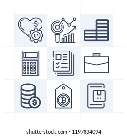Simple set of 9 icons related to business outline such as money, coin, analytics, bitcoin, briefcase, calculator, delivery symbols