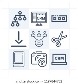 Simple set of 9 icons related to interface outline such as bottom, hierarchical structure, flow, digital camera, scissors, toolbar, crm symbols