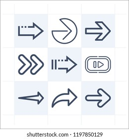 Simple set of 9 icons related to next outline such as next, right arrow, reply symbols