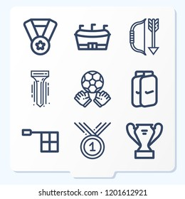 Simple set of 9 icons related to sport outline such as tee, archery, medal, trophy, shin guards, goalie, football, offside symbols