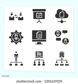 Simple set of 9 icons related to communication filled such as monitor, chat, teamwork, people, swap, blackboard, online education, cloud computing symbols