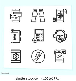 Simple set of 9 icons related to technology outline such as smartphone, calculator, message, tablet, connection, flash, walkman, binoculars symbols