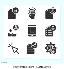 Simple set of 9 icons related to internet filled such as cursor, file, link, globalization, businessman symbols