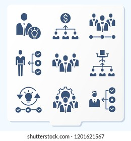 Simple set of 9 icons related to manager filled such as skills, businessman, hierarchical structure, management symbols