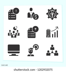 Simple set of 9 icons related to computer filled such as computer, businessman, network, businessmen, student, analytics symbols