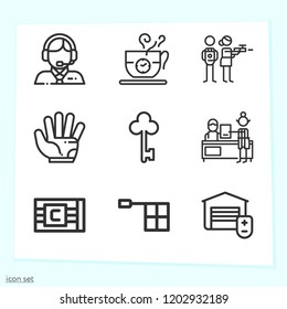 Simple set of 9 icons related to hand outline such as bracelet, glove, commentator, offside, coffee, video game, key, garage symbols