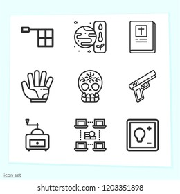 Simple set of 9 icons related to hand outline such as bible, skull, glove, offside, gun, switch, transaction, grinder symbols