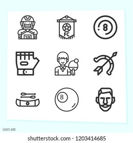 Simple set of 9 icons related to sports outline such as billiard, eight ball, archery, glove, table tennis, kayak, player, football symbols