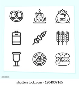 Simple set of 9 icons related to food outline such as wheat, cake, skewer, beer keg, cup, pretzel, burger, grain symbols