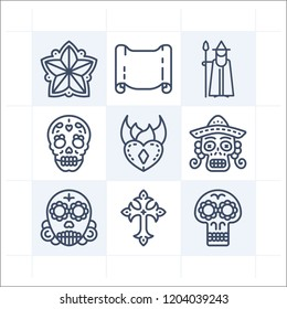 Simple set of 9 icons related to art outline such as parchment, skull, flower, cross, heart symbols