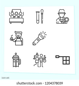 Simple set of 9 icons related to man outline such as policeman, detective, flashlight, laboratory, offside, barista, french press symbols