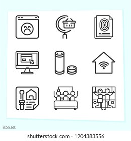 Simple set of 9 icons related to computer outline such as search, browser, planning, website, fingerprint, alexa, arcade, smart home symbols