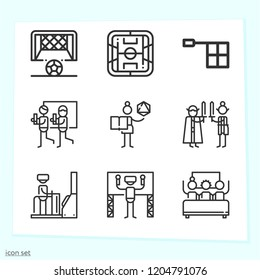 Simple set of 9 icons related to game outline such as soccer field, offside, goal, role game, gamer symbols