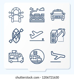 Simple set of 9 icons related to transport outline such as departure, landing, train, food truck, canoe, raft, police car, mining symbols