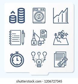 Simple set of 9 icons related to business outline such as research, brainstorming, success, money, diagram, money laundering, chronometer, notebook symbols