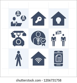 Simple set of 9 icons related to smart filled such as smartphone, businessman, businessmen, man wearing suit and tie, smart home symbols