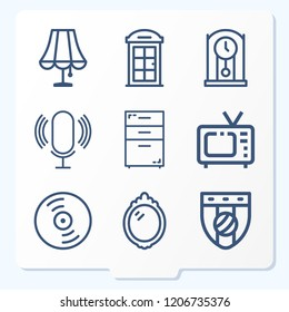 Simple set of 9 icons related to vintage outline such as microphone, television, rack, badge, vinyl, phone booth, mirror, clock symbols