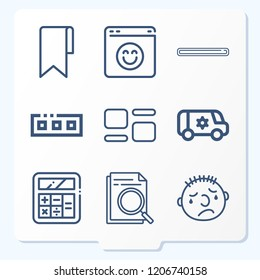 Simple set of 9 icons related to interface outline such as bookmark, browser, van, table, calculator, delete, toolbar, crying symbols