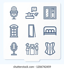 Simple set of 9 icons related to vintage outline such as microphone, mirror, bench, blush, corset, phone booth, arcade symbols