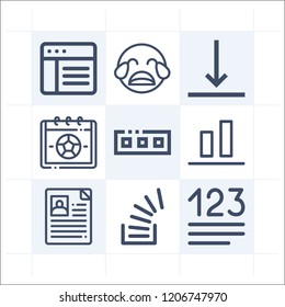 Simple set of 9 icons related to interface outline such as object alignment, bottom, overflowing, numbers, toolbar, crm, personal profile, crying symbols