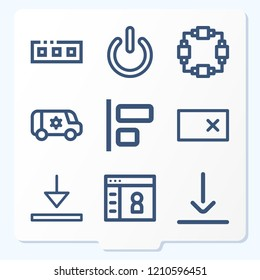 Simple set of 9 icons related to interface outline such as stand by, bottom, align, flow, erase, van, toolbar symbols