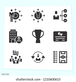 Simple set of 9 icons related to success filled such as skills, building, businesswoman, trophy cup black shape, football list and field outline symbols