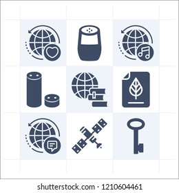 Simple set of 9 icons related to system filled such as file, worldwide, satellite, google home, key symbols