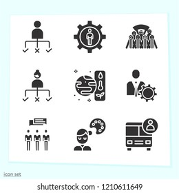 Simple set of 9 icons related to group filled such as school bus, user, people, group, management, student, football fans group symbols
