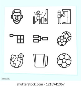Simple set of 9 icons related to game outline such as soccer, soccer ball, offside, competition, player, pitcher, arcade symbols