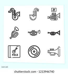 Simple set of 9 icons related to music outline such as trumpet, saxophone, jazz, vynil symbols