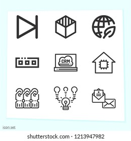 Simple set of 9 icons related to interface outline such as envelope, brainstorming, tags, cube, ecology, toolbar, crm, next symbols