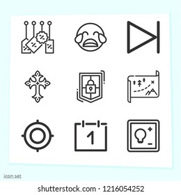 Simple set of 9 icons related to interface outline such as next, focus, tags, maps, shield, calendar, crying, cross symbols