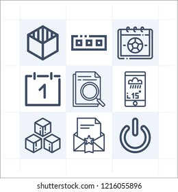 Simple set of 9 icons related to interface outline such as stand by, envelope, cube, calendar, toolbar, application, calendar symbols