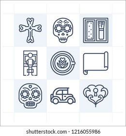 Simple set of 9 icons related to art outline such as parchment, skull, cross, heart, blush, arcade, vintage car symbols