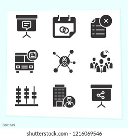 Simple set of 9 icons related to business filled such as file, bus, presentation, building, businesswoman, abacus, businessmen symbols