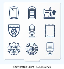 Simple set of 9 icons related to vintage outline such as microphone, mirror, badge, flower, phone booth, mirror, sewing machine symbols