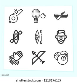 Simple set of 9 icons related to sports outline such as smartwatch, pool, bow, table tennis, kayak, rowboat, referee symbols