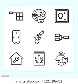 Simple set of 9 icons related to hand outline such as elderly, gun, skull, offside, competition, cannabis, smart home, remote control symbols