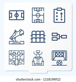 Simple set of 9 icons related to game outline such as soccer field, football field, grandstand, strategy, competition, football trophy, goal, arcade symbols
