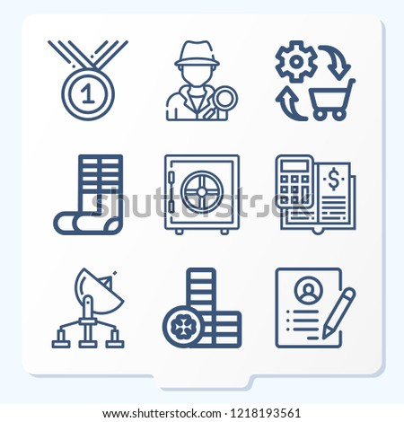 simple set 9 icons related business stock vector royalty free