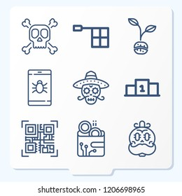 Simple set of 9 icons  such as skull, smartphone, position, offside, coffee symbols