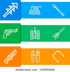 Simple set of  9 outline icons on following themes arrow, knife, harpoon, spear, nunchaku, revolver web icons with high quality