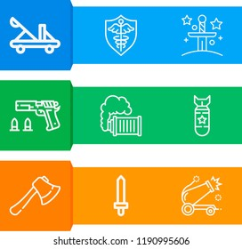 Simple set of  9 outline icons on following themes axe, sword, catapult, shield, excalibur, smoke grenade, bomb, cannon web icons with high quality