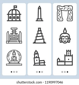 Simple set of  9 outline icons on following themes walled obelisk, nevyansk, samarra, theatre, belem tower, buddha, stonehenge web icons with high quality