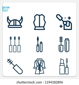 Simple set of  9 outline icons on following themes bathrobe, viking helmet, armour, nail polish, mascara web icons with high quality