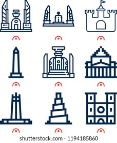 Simple set of  9 outline icons on following themes walled obelisk, notre dame, shrine remembrance, samarra, quezon memorial circle, castle web icons with high quality