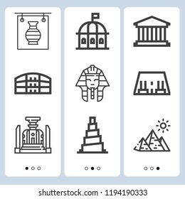 Simple set of  9 outline icons on following themes abu simbel, pula arena, samarra, pantheon, theatre, pyramids, pharaoh, exhibition web icons with high quality