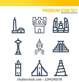 Simple set of  9 outline icons on following themes qutb minar, teotihuacan, samarra, giralda, hallgrimskirkja, castle, buddha, space needle web icons with high quality